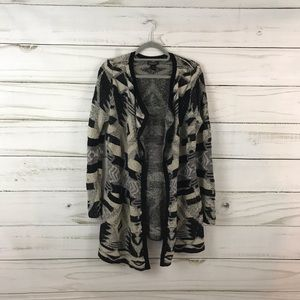 Lucky Brand Black Cream Print Sweater Cardigan
